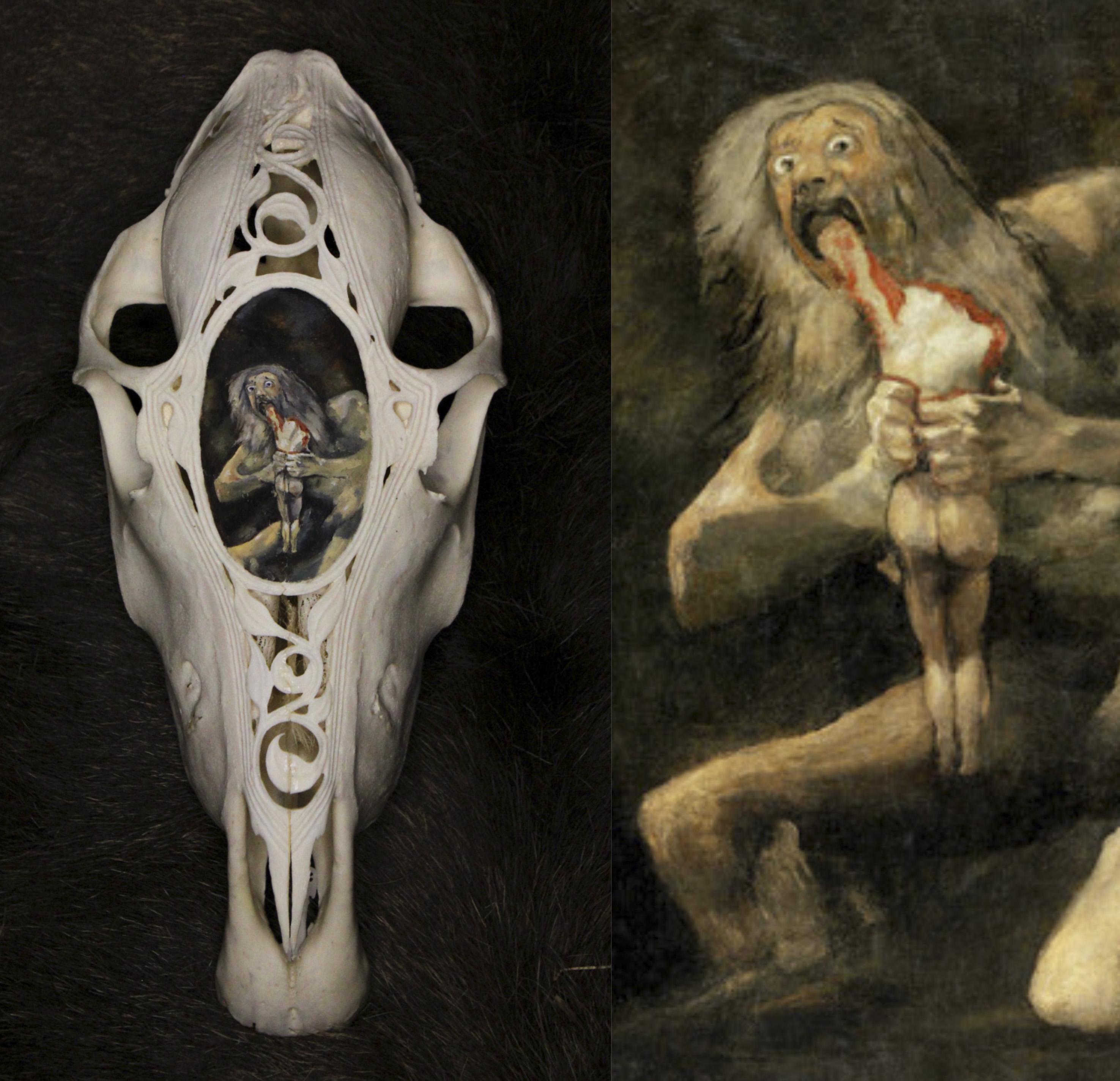 """""""Saturno che divora i suoi figli"""" di Goya su teschio di Falabella"""